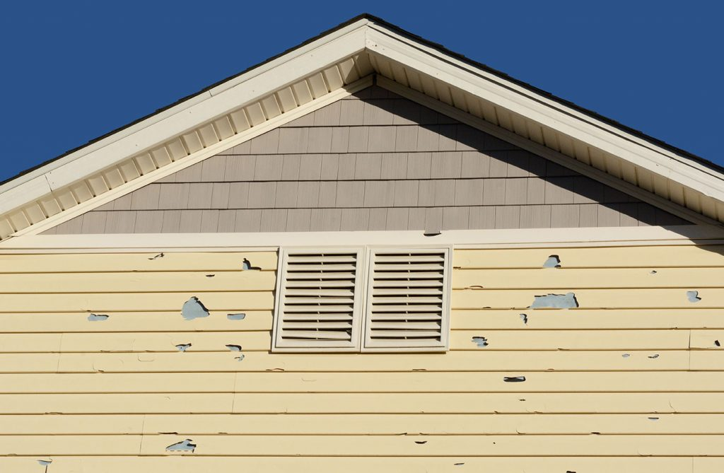 Siding damage as a result of a storm