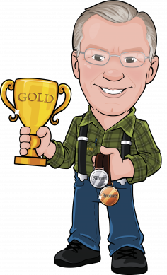 Illustration of Phil Grennan holding silver and bronze medals and a gold trophy.