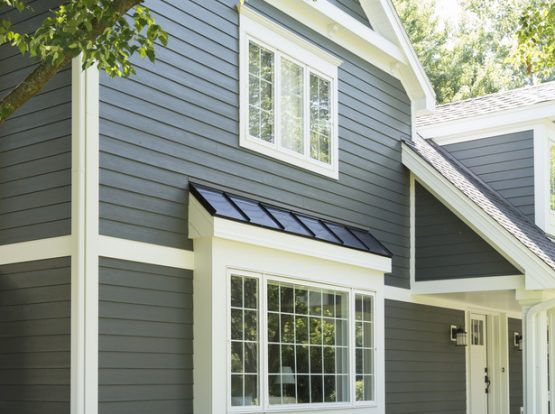 James Hardie Siding stock photo of grey home.