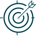 Vector Dark Blue bulls eye with arrow to represent the mission statement of our roofing and siding company.