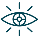 Vector Dark Blue eye with bulls eye in center to represent the vision statement of our roofing and siding company,.