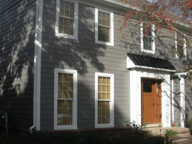 Exterior remodeling project including James Hardie siding. Northville, Michigan.